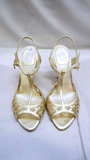 Dior Christian Leather Heels Gold Sandals
