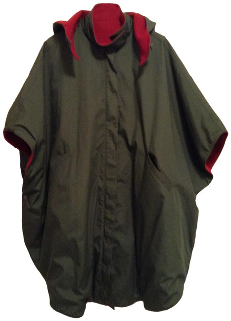 Item - Green/Red XL Reversible Hooded Cape Coat Size 14 (L)