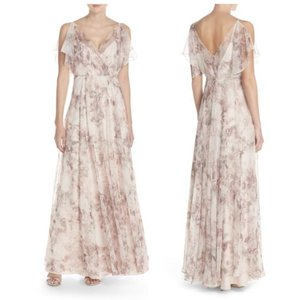 Jenny Yoo Watercolor Lavendar Silk Cassie Print Formal Bridesmaid/Mob Dress Size 4 (S)