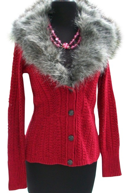 Item - Red Removable Faux Fox Collar Knit Cardigan Top New S 4/6 Stretch Blazer Size 6 (S)