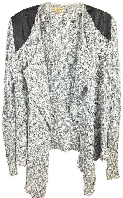Item - Faux Leather Accent Gray & Black Sweater