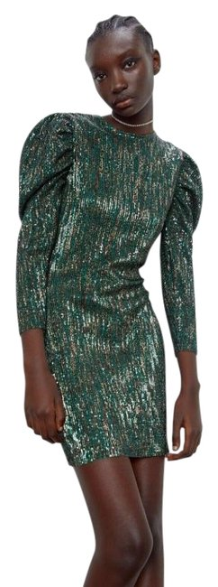 Item - Green Limited Edition Sequin Short Casual Dress Size 8 (M)