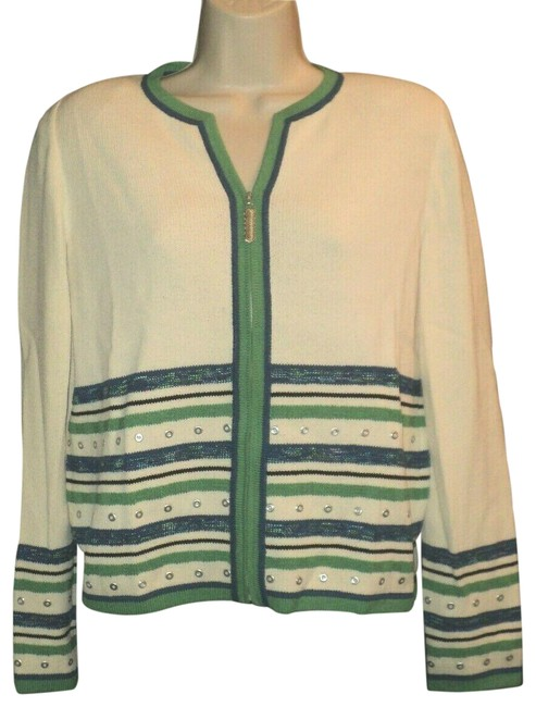 Item - Grommet Accents...front Zippered....long Sleeves Cream Green Blue Sweater