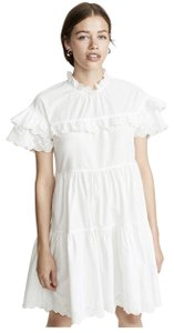 Ulla Johnson short dress Blanc Cotton Boho Bohemian Machine Washable Ruffle on Tradesy