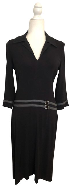 Item - Black with Gray Casual Mid-length Work/Office Dress Size 6 (S)