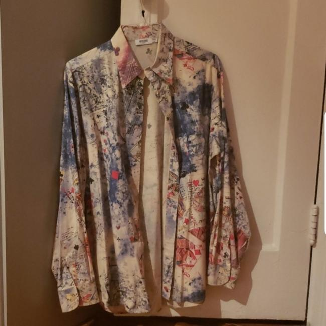 Item - Multi Colored. Blue and White Base Colors. Jeans Button-down Top Size 12 (L)