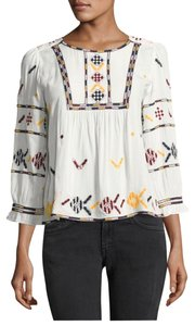 ba&sh Boho Chic Statement Summer Top White with Pastel Colors