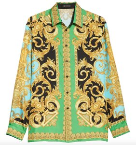 Versace Green Barocco Homme Print Blue Silk Button Down Shirt