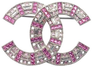 Chanel Chanel Brand New Silver CC Pink Baguette Crystal Large Brooch