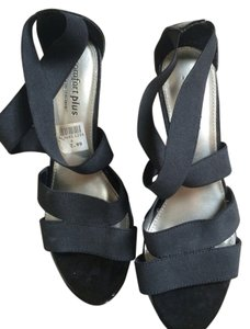 Other Strappy Comfy Low Heel Black Wedges