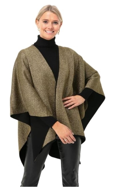 Item - Gold Black Metallic Reversible Serape Poncho/Cape Size OS (one size)