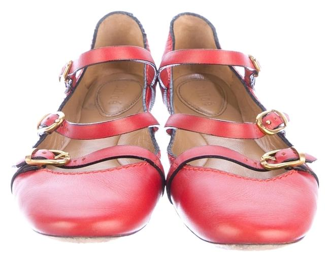 Item - Red Jane Leather Mary with Buckle Straps Flats Size US 6 Regular (M, B)