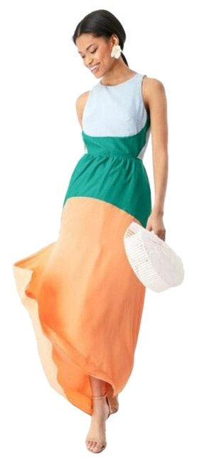 Item - Orange Blue Green Eden Colorblock Long Cocktail Dress Size 12 (L)