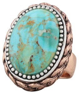 Barse Barse Ornate Turquoise Statement Ring - Silver Copper Size 7.5