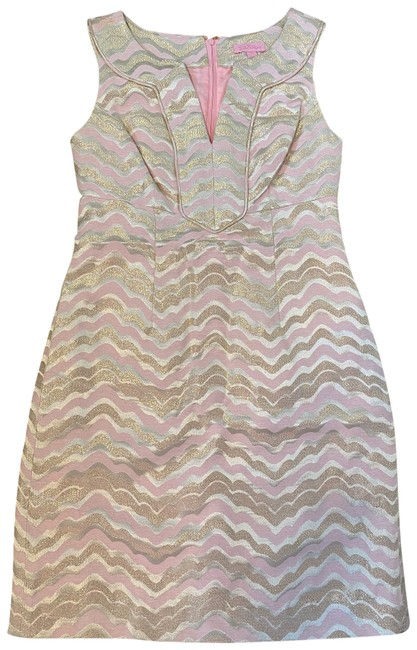 Item - Pink Gold Ivory Chevron Mid-length Short Casual Dress Size 0 (XS)