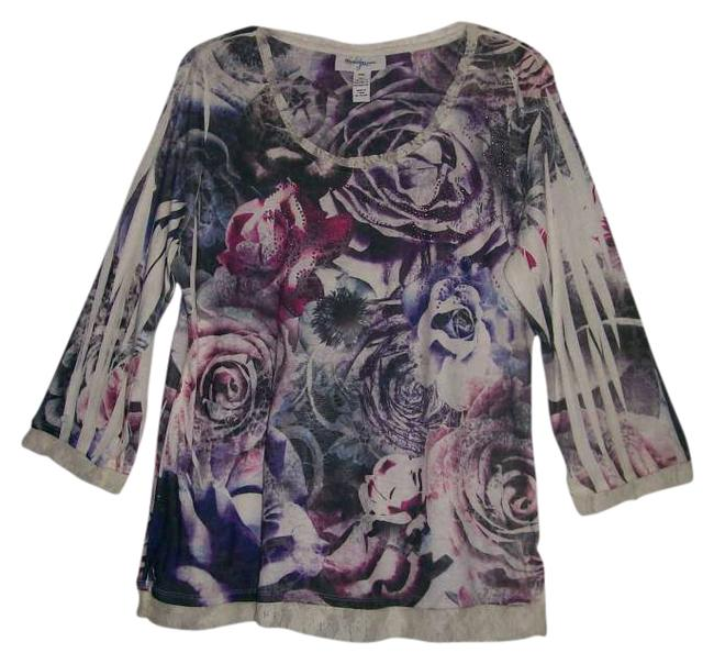 Style & Co Top Off White, Purple, Bright Pink