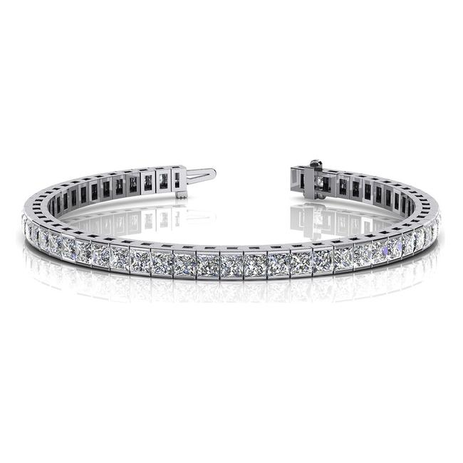 Item - White 8.00 Ct. Princess Tennis Channel Set Bracelet