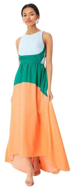 Item - Orange Blue Green Eden Colorblock Long Cocktail Dress Size 16 (XL, Plus 0x)
