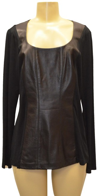 Item - Leather/Knit Combo Scoop Neck Black/Grey Sweater