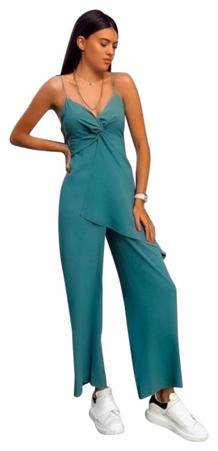 Item - Teal Green Faux Wrap Romper/Jumpsuit