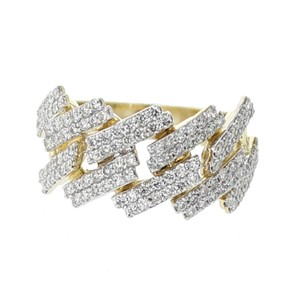 Yellow Gold 10k Miami Link Style For Men 1.63ctw Diamonds For Men Ring
