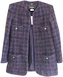 Chanel Cc Paris France Wool Purple/Multi Color Jacket