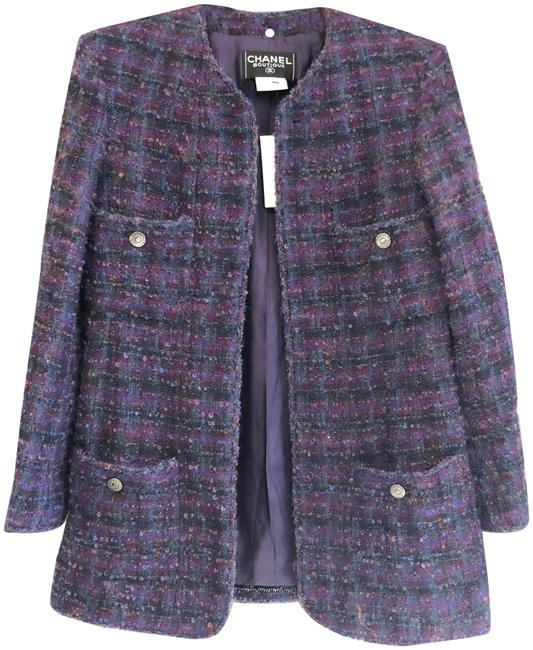 Item - Purple/Multi Color Wool Blend Blazer Jacket Size 8 (M)