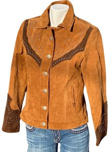 Scully Western Cowgirl Boho Sudded Cowboy tan dark brown Leather Jacket