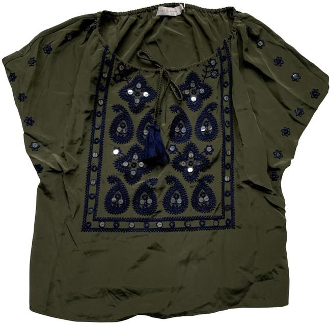 Item - Green Embellished Front Short Sleeve Blouse Size 2 (XS)