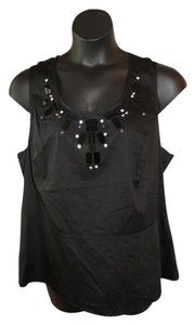 Lane Bryant Beaded Peplum 18 Top Black