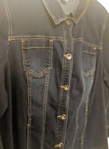 Catherines Distressed Stretch Womens Jean Jacket