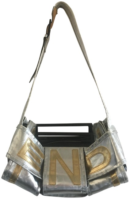 Item - Vintage 2-way with Wallet Silver and Gold Leather Fabric Shoulder Bag