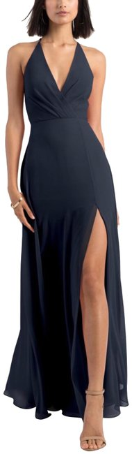 Item - Navy Bryce Surplice V-neck Slit Chiffon Long Formal Dress Size 16 (XL, Plus 0x)