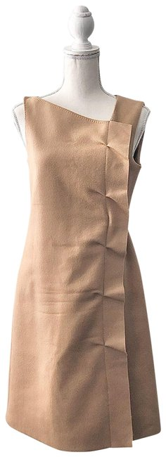 Item - Tan Asymmetric Neckline Ruffle Wool Sheath Mid-length Work/Office Dress Size 4 (S)
