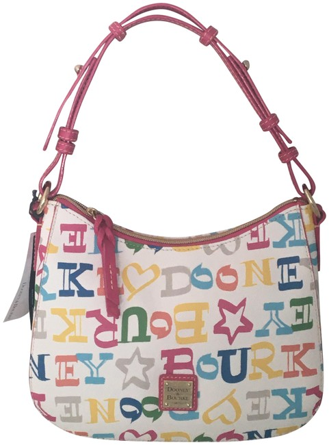 Item - D&b Doodle Cotton Small Kiley White Coated Canvas Hobo Bag