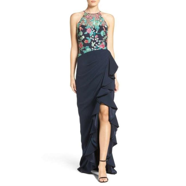 Item - Navy Multi Embroidered Lace Ruffle Long Formal Dress Size 4 (S)