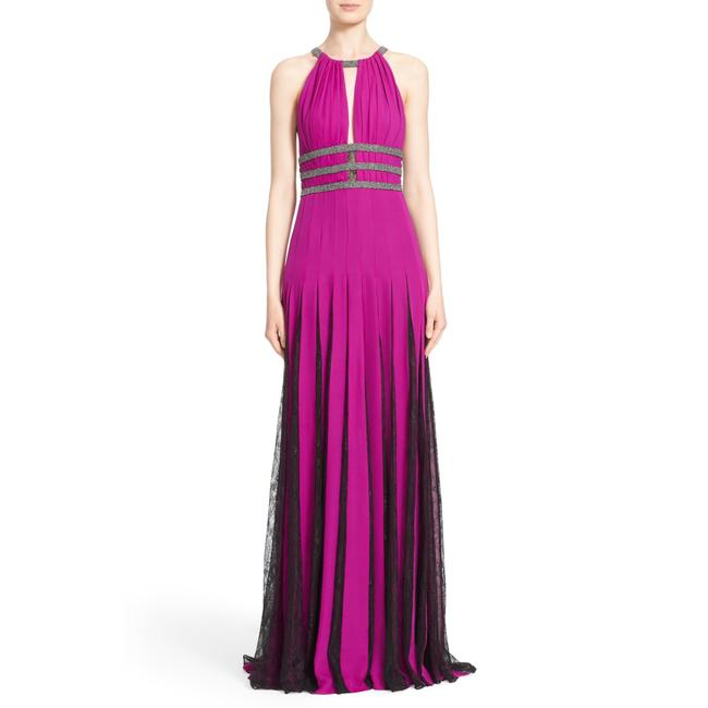 Item - Orchid Couture Silk Halter Gown with Lace Pleats Long Formal Dress Size 2 (XS)