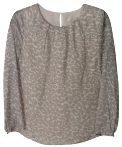 J.Crew Print Silk Top Grey Leopard