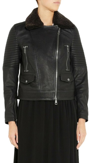Item - Black Women's Shearling Trimmed Leather Biker Jacket Size 4 (S)