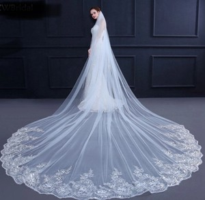 Long White Ivory 10 13 16 Ft Sequins Cathedral Bridal Veil