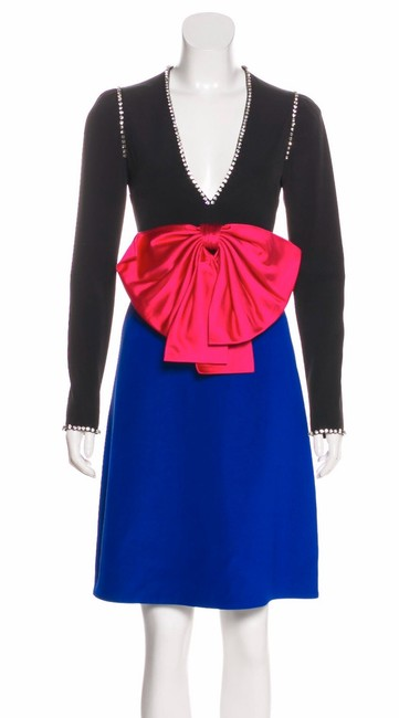 Item - Black Blue Pink Crystal Embellished with Bow Short Casual Dress Size 2 (XS)