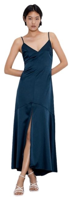 Item - Midnight Blue V Neck Satin with Spaghetti Straps Long Casual Maxi Dress Size 4 (S)