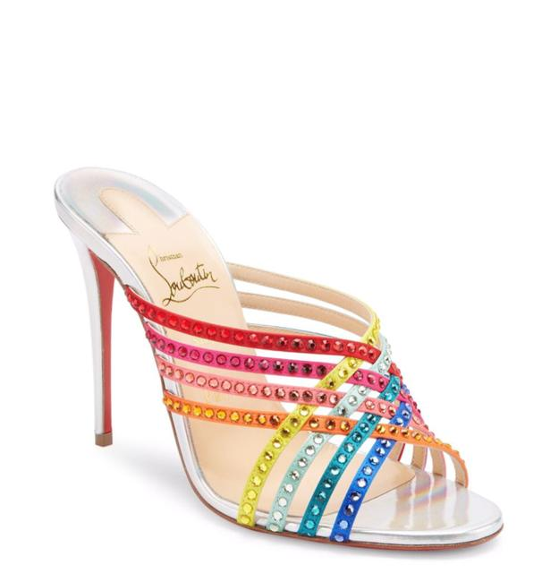 Item - Multicolor 100mm Rainbow Silver Martha Strass Leather Silk C358 Mules/Slides Size EU 39 (Approx. US 9) Regular (M, B)