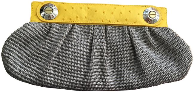 Item - Brown and Yellow Leather Straw & Silk Clutch