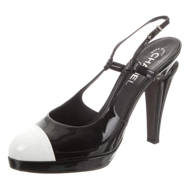 Item - Black & White Classic Patent Leather Cap-toe Platform Slingback Pumps Size EU 37 (Approx. US 7) Narrow (Aa, N)