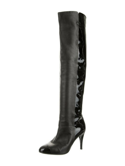 Item - Black Sz35 2-tone Nappa Leather Patent Cap-toe Over Knee Logo Boots/Booties Size EU 35 (Approx. US 5) Narrow (Aa, N)
