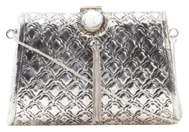 Item - Clutch With Strap Silver Cross Body Bag