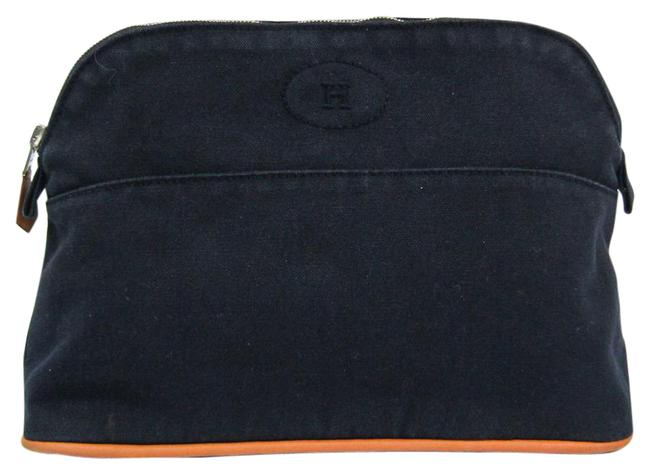 Item - Bolide Mm Pouch Navy Cotton / Leather Clutch