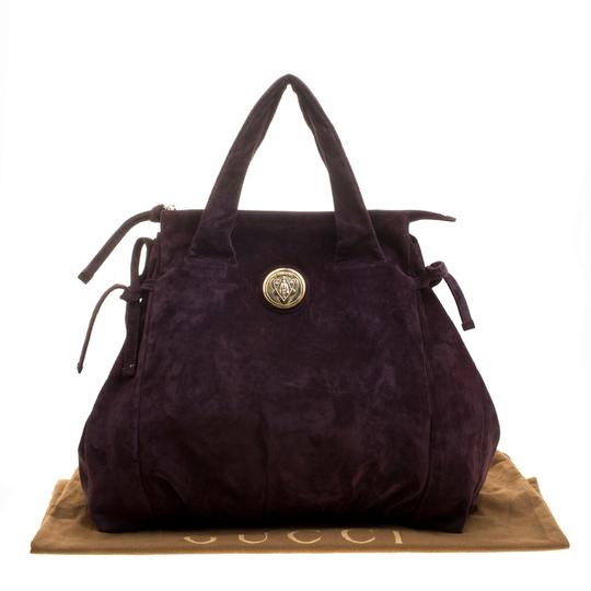 Gucci Suede Satchel in Purple Image 11