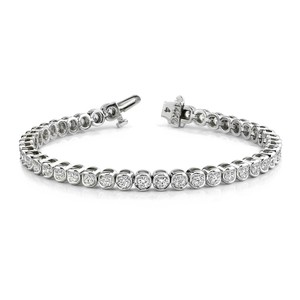 White 5.00 Ct. Round Tennis Bezel Setting Bracelet